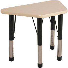 20x33 Trapezoid Activity Table Maple Top Maple Edge Black Chunky Leg Ball Glide