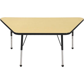 30x60 Trapezoid Activity Table Maple Top Blk Edge Black Juvenile Leg Ball Glide