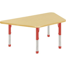 30x60 Trapezoid Activity Table Maple Top Maple Edge Red Chunky Leg Ball Glide
