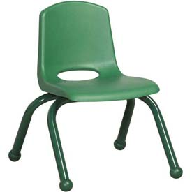 """10"""" School Stack Chair Green Seat Green Coordinating Legs Ball Glide, Priced Ea, Sold 6/PK - Pkg Qty 6"""