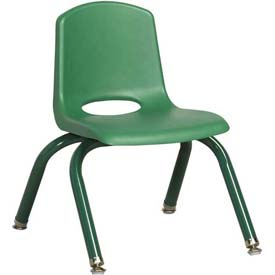 """10"""" School Stack Chair Green Seat Green Coordinating Legs Swivel Glide, Priced Ea, Sold 6/PK - Pkg Qty 6"""