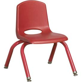 """10"""" School Stack Chair Red Seat Red Coordinating Legs Swivel Glide, Priced Ea, Sold 6/PK - Pkg Qty 6"""