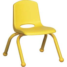 "10"" School Stack Chair Yellow Seat Yellow Coordinating Legs Ball Glide, Priced Ea, Sold 6/PK - Pkg Qty 6"