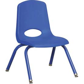 """12"""" School Stack Chair Blue Seat Blue Coordinating Legs Ball Glide, Priced Ea, Sold 6/PK - Pkg Qty 6"""
