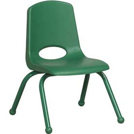 "12"" School Stack Chair Green Seat Green Coordinating Legs Ball Glide, Priced Ea, Sold 6/PK - Pkg Qty 6"