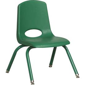 "12"" School Stack Chair Green Seat Green Coordinating Legs Swivel Glide, Priced Ea, Sold 6/PK - Pkg Qty 6"