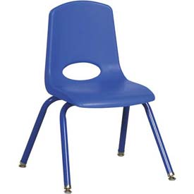 "14"" School Stack Chair Blue Seat Blue Coordinating Legs Swivel Glide, Priced Ea, Sold 6/PK - Pkg Qty 6"