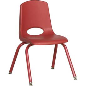 """14"""" School Stack Chair Red Seat Red Coordinating Legs Swivel Glide, Priced Ea, Sold 6/PK - Pkg Qty 6"""