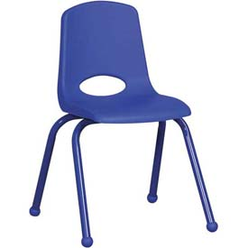"16"" School Stack Chair Blue Seat Blue Coordinating Legs Ball Glide, Priced Ea, Sold 6/PK - Pkg Qty 6"