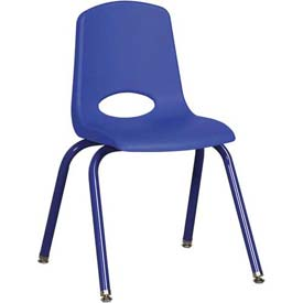 "16"" School Stack Chair Blue Seat Blue Coordinating Legs Swivel Glide, Priced Ea, Sold 6/PK - Pkg Qty 6"
