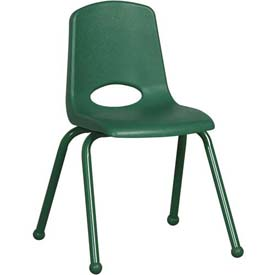 "16"" School Stack Chair Green Seat Green Coordinating Legs Ball Glide, Priced Ea, Sold 6/PK - Pkg Qty 6"