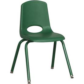 "16"" School Stack Chair Green Seat Green Coordinating Legs Swivel Glide, Priced Ea, Sold 6/PK - Pkg Qty 6"