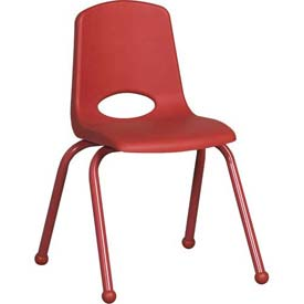 "16"" School Stack Chair Red Seat Red Coordinating Legs Ball Glide, Priced Ea, Sold 6/PK - Pkg Qty 6"