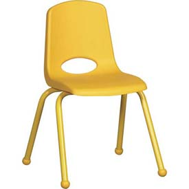 """16"""" School Stack Chair Yellow Seat Yellow Coordinating Legs Ball Glide, Priced Ea, Sold 6/PK - Pkg Qty 6"""