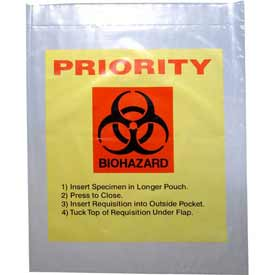 "Reclosable 3-Wall Specimen Transfer Bag (Biohazard), 12"" x 15"", Yellow Tint/Priority, Pkg Qty 1000"