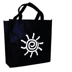 Non-Woven Polypropylene Bag - Standard Grocery Size With Sun Print 13-1/2 x 12-1/2 x 8-1/2 100 Pack