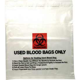 "Tamper Evident Used Blood Transport Bag, 2 mil, 10"" x 10"", Pkg Qty 1000"
