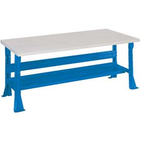 Open Leg Bench w/Shelf and ESD Safety Edge Top- 60x30x29, Blue