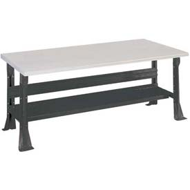 Open Leg Bench w/Shelf and ESD Safety Edge Top- 6', Black