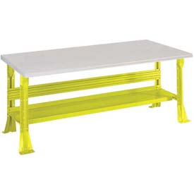 Open Leg Bench w/Shelf and ESD Safety Edge Top-96x30x34, Yellow