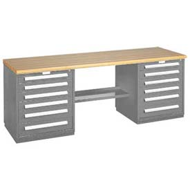 Modular Drawer Bench - 8' -Two Modular Cabinets, Dove Gray