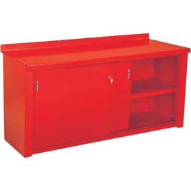 Closed Workbench w/Sliding Door - 8', Red