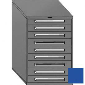 "Equipto 30""W Modular Cabinet 9 Drawers w/Dividers, 44""H, Keyed Alike Lock-Textured Regal Blue"