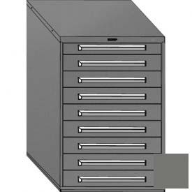 """Equipto 30""""W Modular Cabinet 9 Drawers w/Dividers, 44""""H, No Lock-Smooth Office Gray by"""