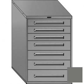 """Equipto 30""""Wx44""""H Modular Cabinet 7 Drawers w/Dividers, No Lock-Smooth Office Gray by"""