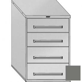 "Equipto 30""Wx44""H Modular Cabinet 4 Drawers w/Dividers, & Lock-Smooth Office Gray"