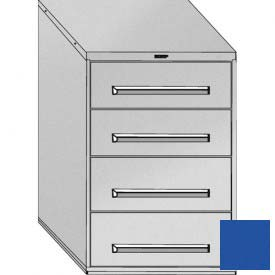 "Equipto 30""Wx44""H Modular Cabinet 4 Drawers w/Dividers, Keyed Alike Lock-Textured Regal Blue"