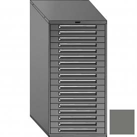 "Equipto 30""W Modular Cabinet 18 Drawers w/Dividers, 59""H & Lock-Smooth Office Gray by"