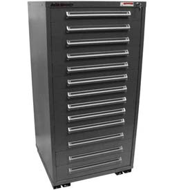 "Equipto 30""W Modular Cabinet 13 Drawers w/Dividers, 59""H, Keyed Alike Lock-Smooth Office Gray by"