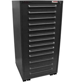 "Equipto 30""W Modular Cabinet 13 Drawers No Divider, 59""H, No Lock-Textured Black"