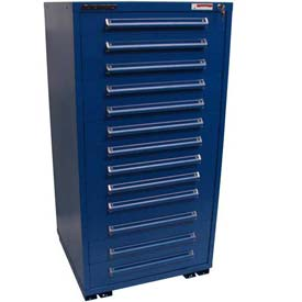"Equipto 30""W Modular Cabinet 13 Drawers No Divider, 59""H, No Lock-Textured Regal Blue"