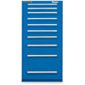 "Equipto 30""W Modular Cabinet 10 Drawers w/Dividers, 59""H, Keyed Alike Lock-Textured Regal Blue"