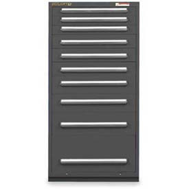 "Equipto 30""W Modular Cabinet 10 Drawers No Divider, 59""H & Lock-Smooth Office Gray by"