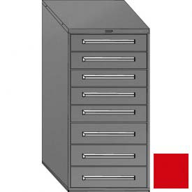 "Equipto 30""W Modular Cabinet 59""H, 8 Drawers No Divider, & Lock-Textured Cherry Red"
