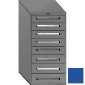 "Equipto 30""W Modular Cabinet 59""H, 8 Drawers No Divider, Keyed Alike Lock-Textured Regal Blue"