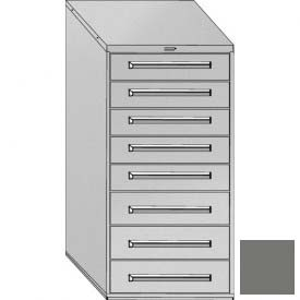 """Equipto 30""""Wx59""""H Modular Cabinet 8 Drawers w/Dividers, & Lock-Smooth Office Gray by"""
