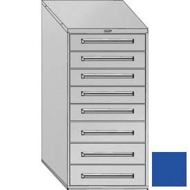 "Equipto 30""Wx59""H Modular Cabinet 8 Drawers w/Dividers, Keyed Alike Lock-Textured Regal Blue"