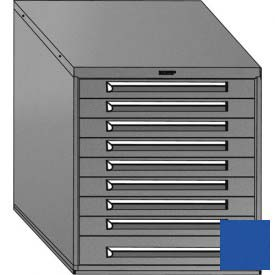 "Equipto 30""W Modular Cabinet 33-1/2""H, 9 Drawers No Divider, Keyed Alike Lock-Textured Regal Blue"