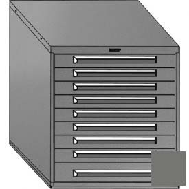"""Equipto 30""""W Modular Cabinet 33-1/2""""H, 9 Drawers w/Dividers, No Lock-Smooth Office Gray by"""