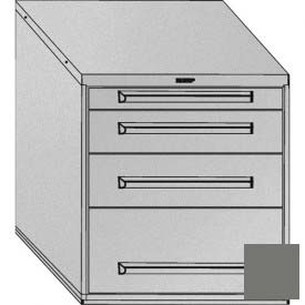 """Equipto 30""""W Modular Cabinet 4 Drawers w/Dividers, 33-1/2""""H, & Lock-Smooth Office Gray by"""