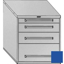 "Equipto 30""W Modular Cabinet 4 Drawers w/Dividers, 33-1/2""H, No Lock-Textured Regal Blue"