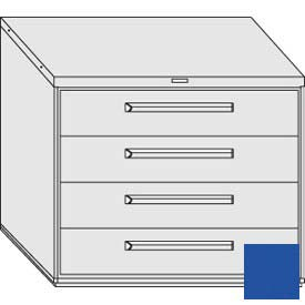 "Equipto 45""W Modular Cabinet 38""H 4 Drawers w/Dividers, & Lock-Textured Regal Blue"