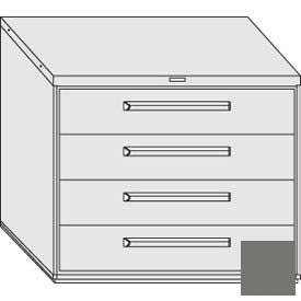 """Equipto 45""""W Modular Cabinet 38""""H 4 Drawers w/Dividers, & Lock-Smooth Office Gray by"""