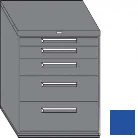"Equipto 45""W Modular Cabinet 38""H 5 Drawers w/Dividers, & Lock-Textured Regal Blue"