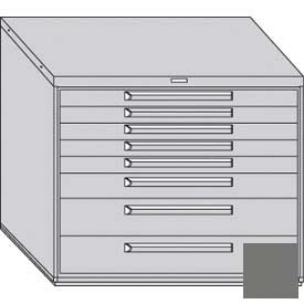 """Equipto 45""""W Modular Cabinet 38""""H 8 Drawers w/Dividers, No Lock-Smooth Office Gray by"""