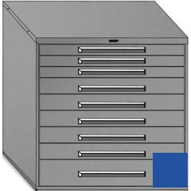 "Equipto 45""Wx44""H Modular Cabinet 9 Drawers No Divider, & Lock-Textured Regal Blue"